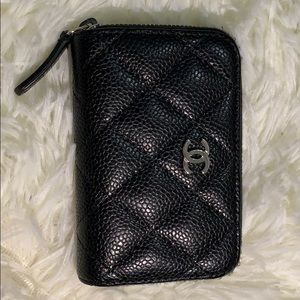 CHANEL Caviar Quilted Zip Coin Purse Black